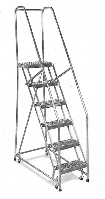 aluminum rolling ladder with handrail