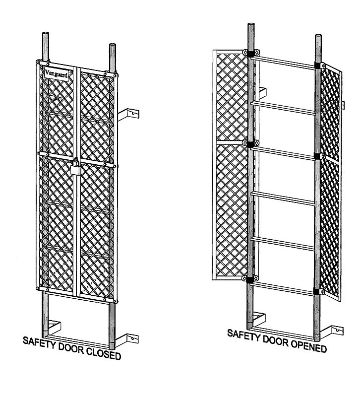 Fixed Steel Access Ladder With Pass Thru Hr Amp Cage